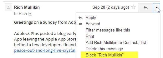 gmail block email senders