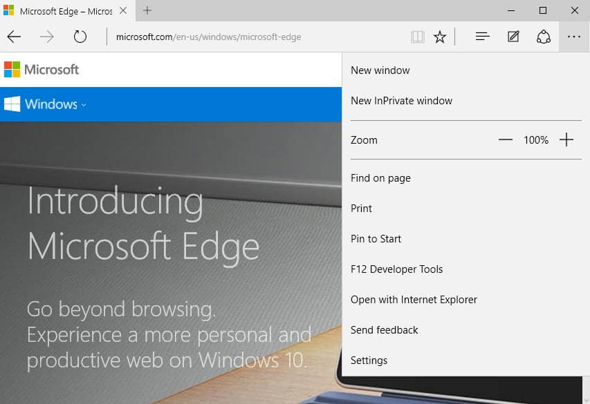 microsoft edge new window