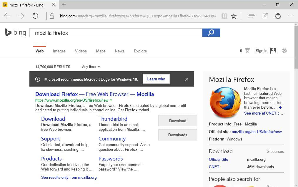 Microsoft should recommend Edge like Google does Chrome