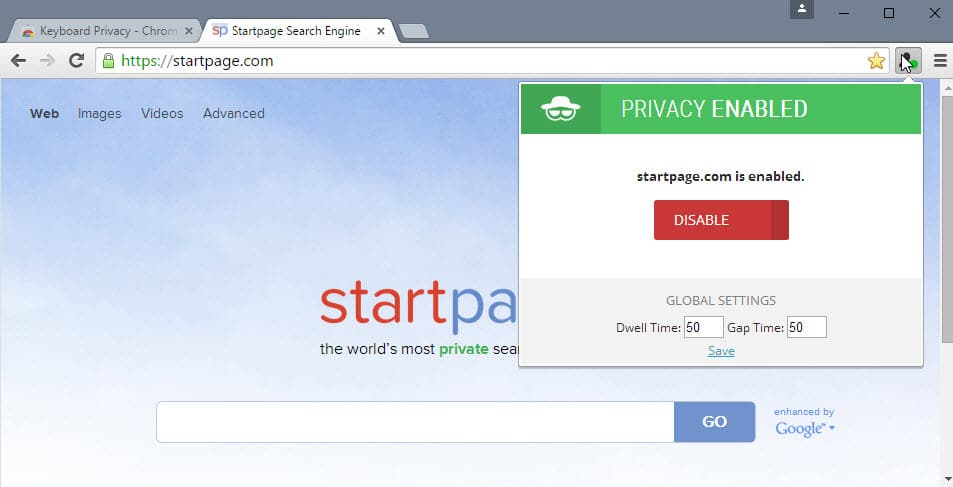 privacy enabled chrome