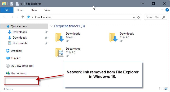 removed link file explorer