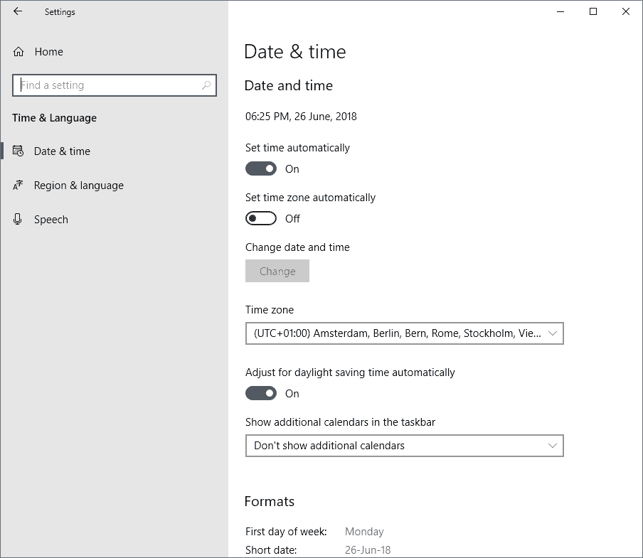 How to change time and language formats in Windows 10 - gHacks Tech News