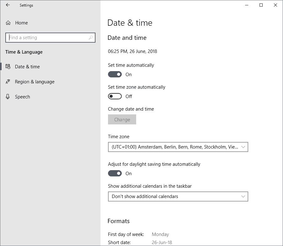 time language windows 10