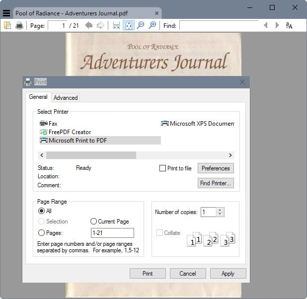 You can print to PDF natively in Windows 10