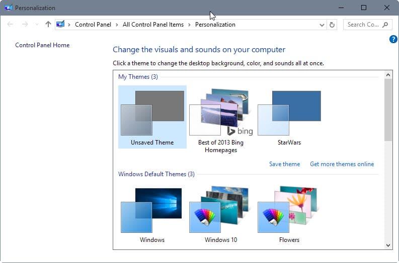 windows 10 rtm personalization