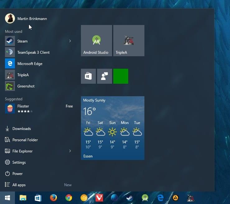 windows start menu ads