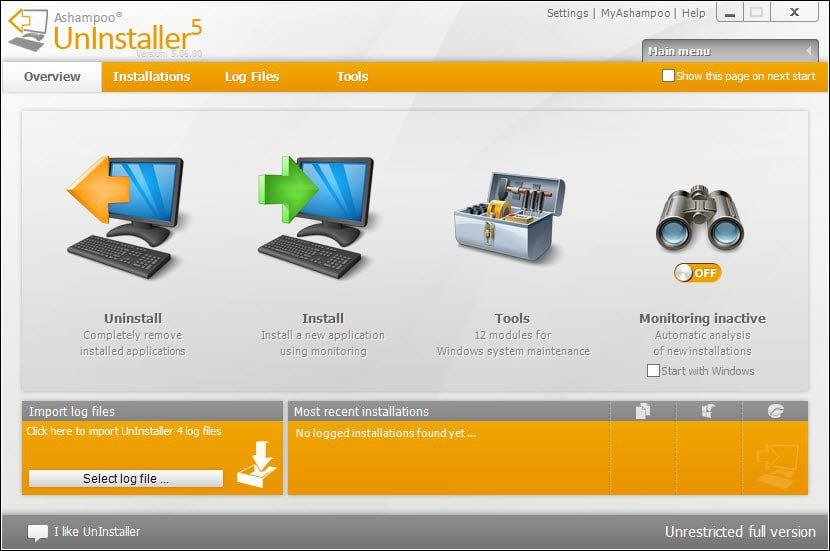 ashampoo uninstaller 5 main interface