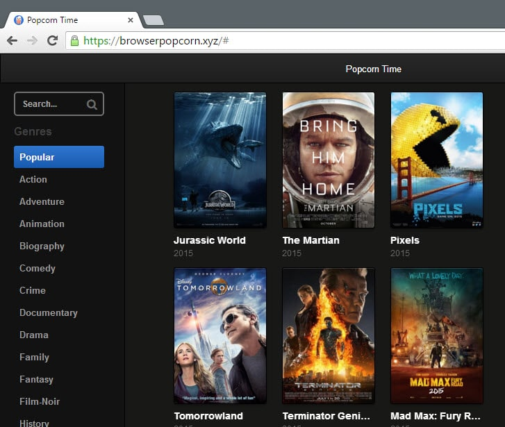 Browser Popcorn: Popcorn Time as a web service