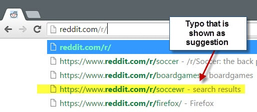 chrome address bar typo suggestion