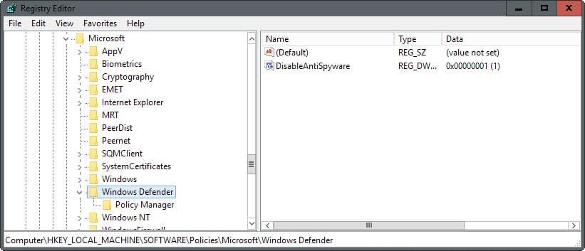 disable windows defender windows 8 group policy