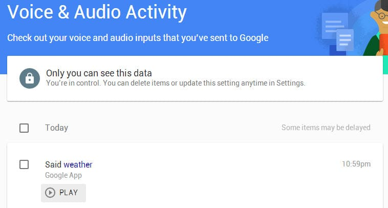 google voice audio activity