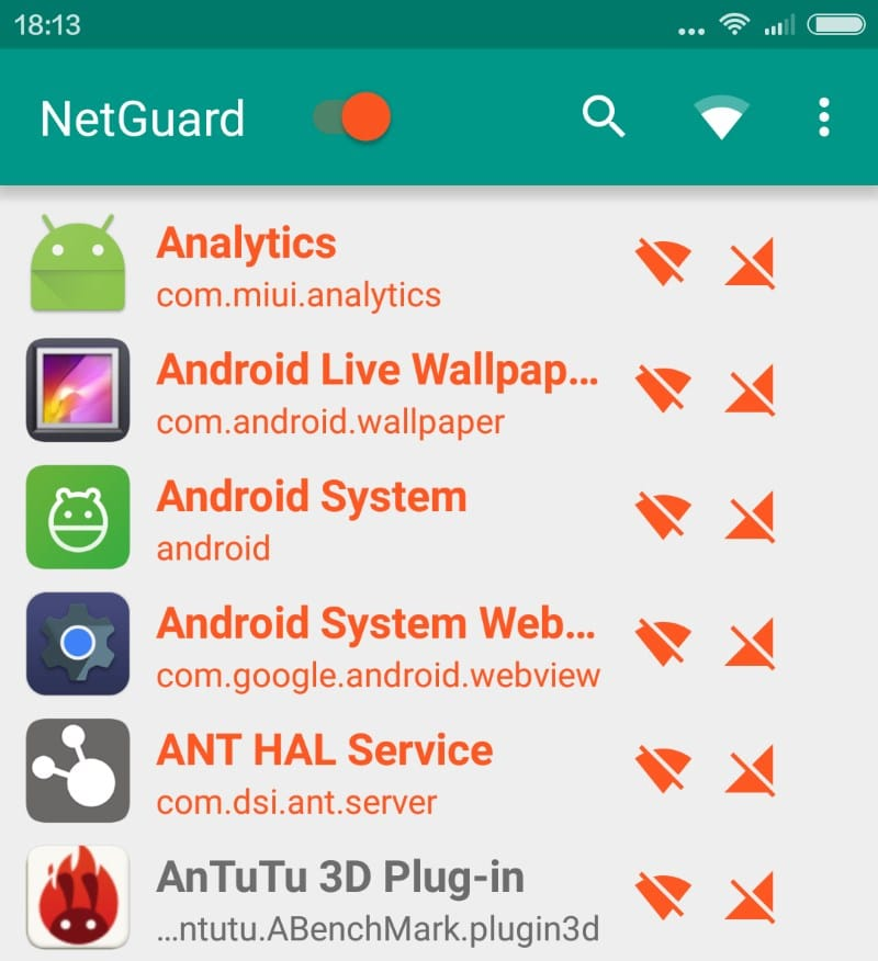 Block Androids apps from connecting to the Internet with