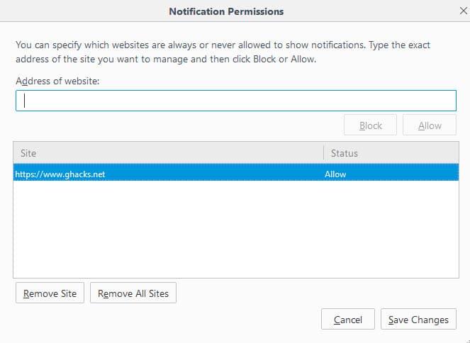 notification permissions