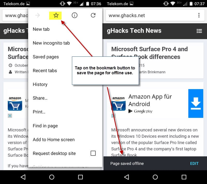 Save pages for offline viewing in mobile Chrome - gHacks
