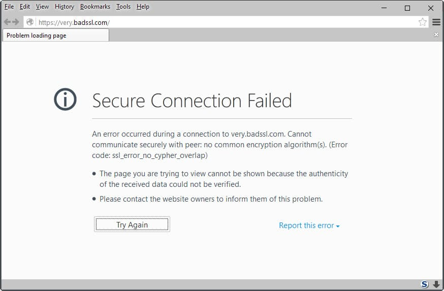 secure connection failed firefox