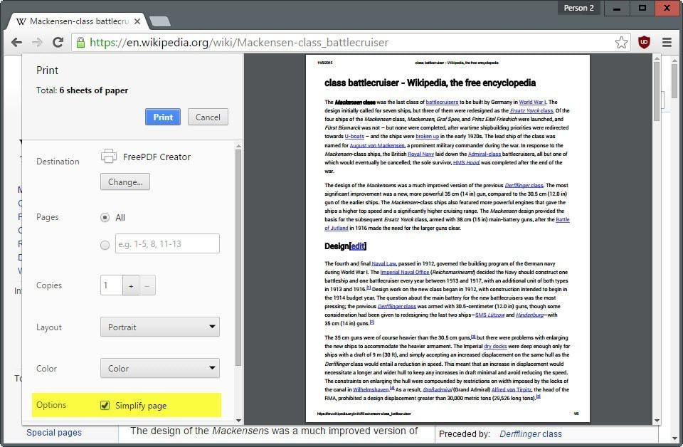 chrome simplify page