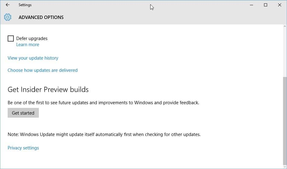 It is time to check Windows Insider Settings