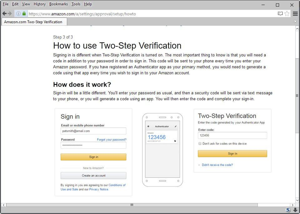 how to use two step verification
