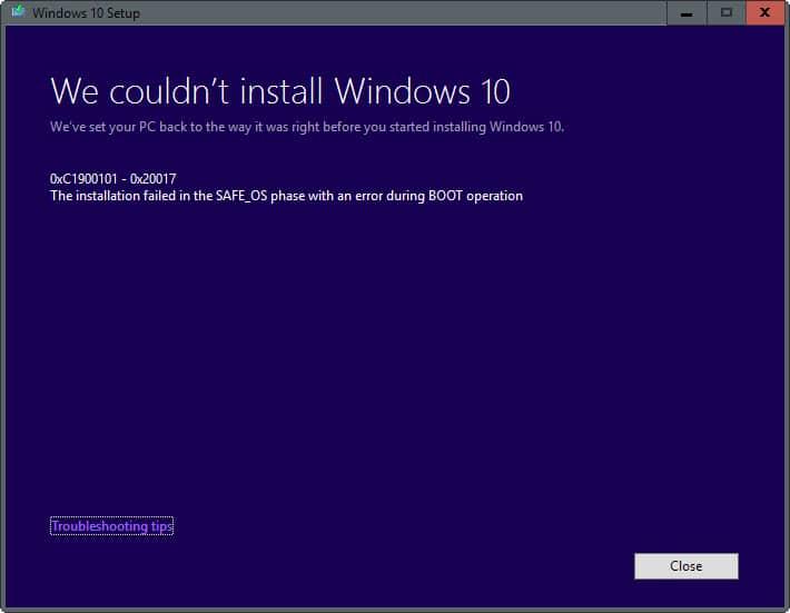 installation failed safe_os phase boot