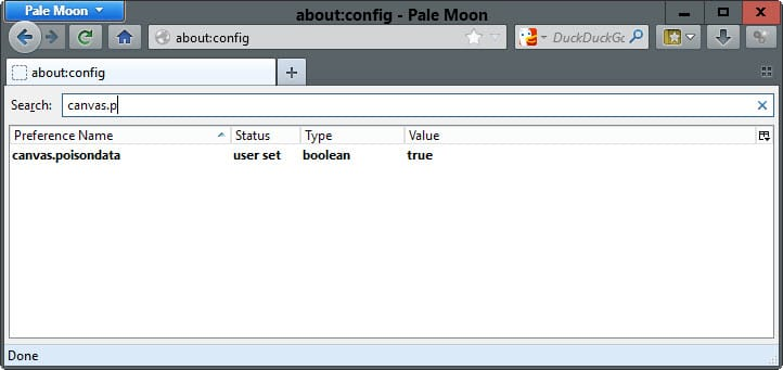 List of Pale Moon specific about:config preferences