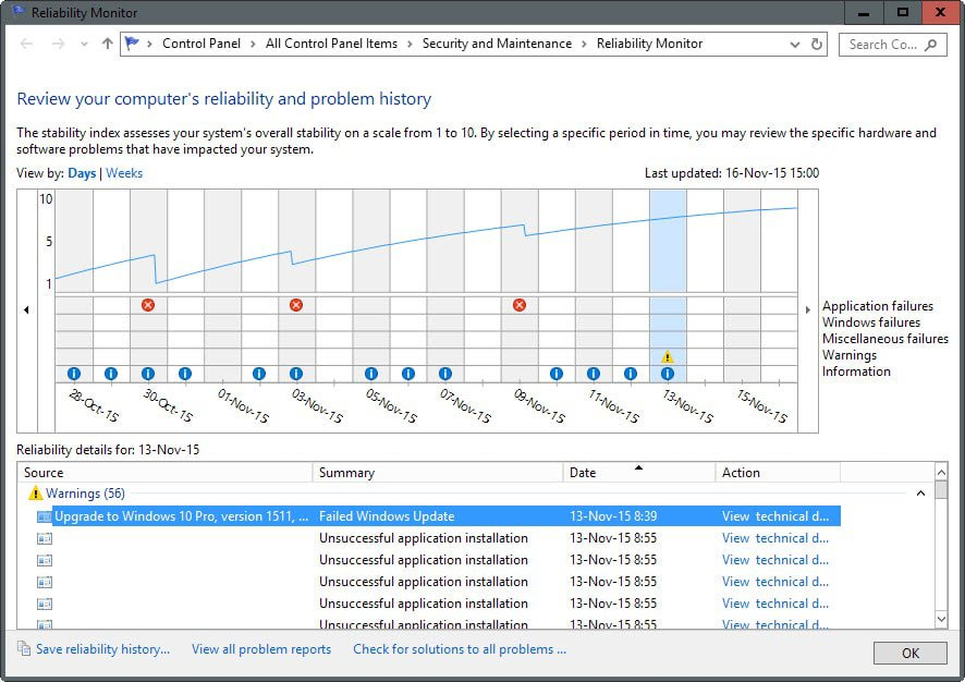 Check problematic events with the Windows Reliability Monitor