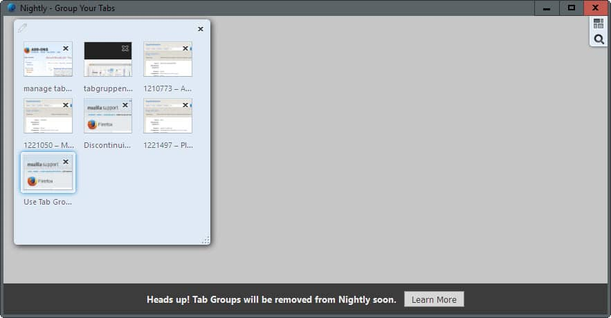 tab groups removed