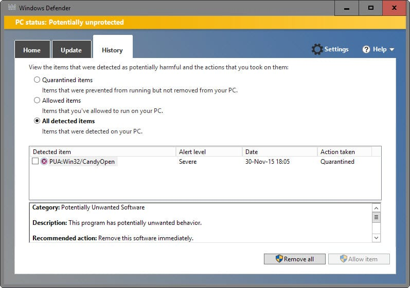 windows defender adware