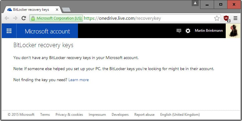Find out if Microsoft stores encryption recovery keys in the cloud