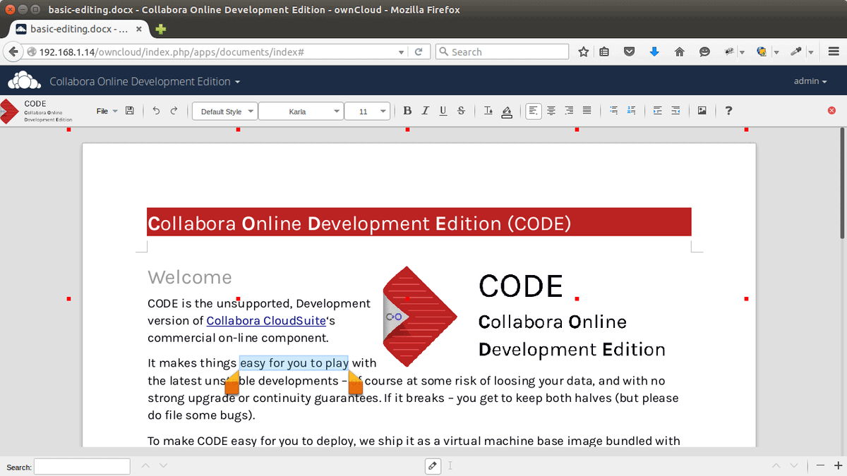 CODE: LibreOffice Online with ownCloud integration