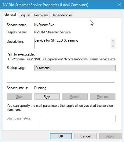 disable nvidia streamer service