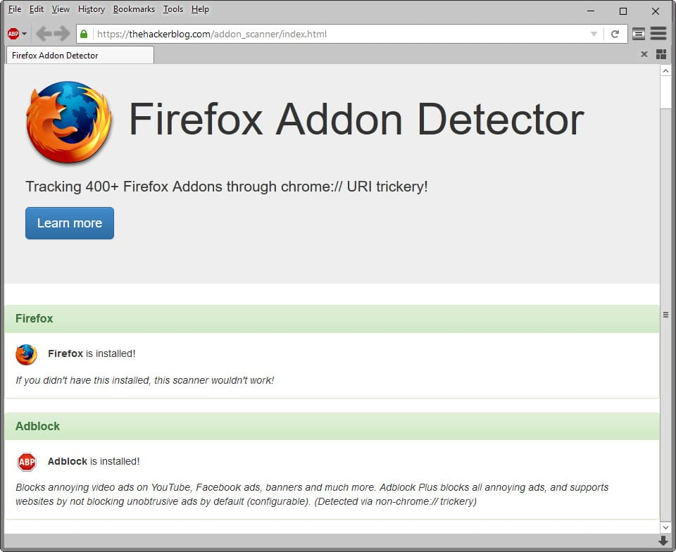 Firefox Addon Detector identifies installed Firefox add-ons