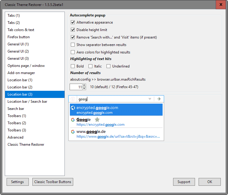 firefox disable visit search with