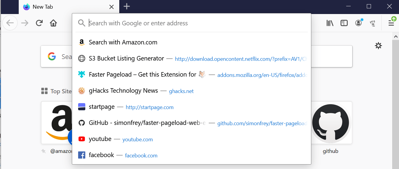 firefox search with