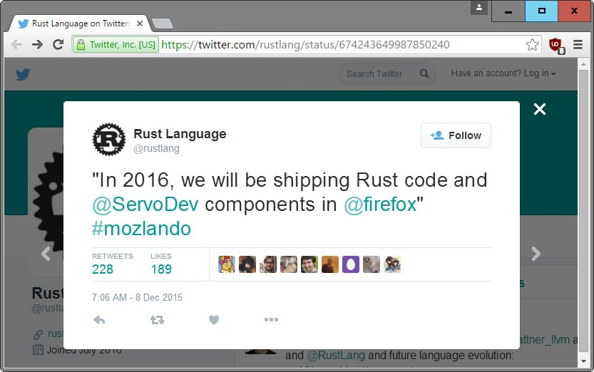 Mozilla will ship Rust code and Servo components in Firefox in 2016