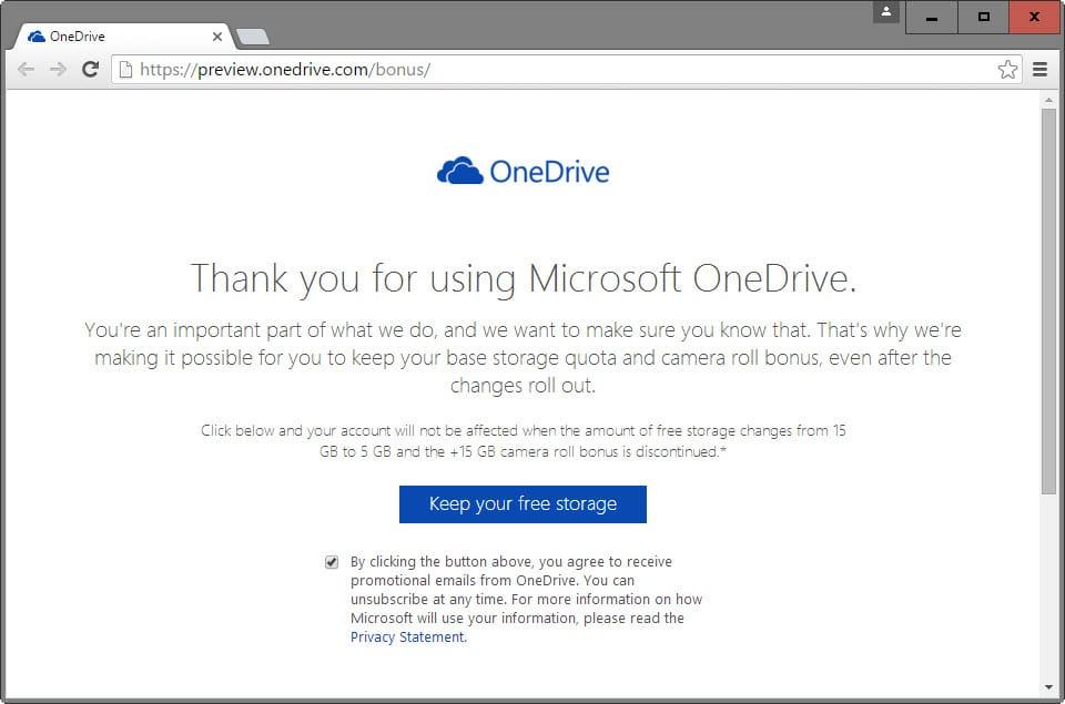 onedrive keep your free storage