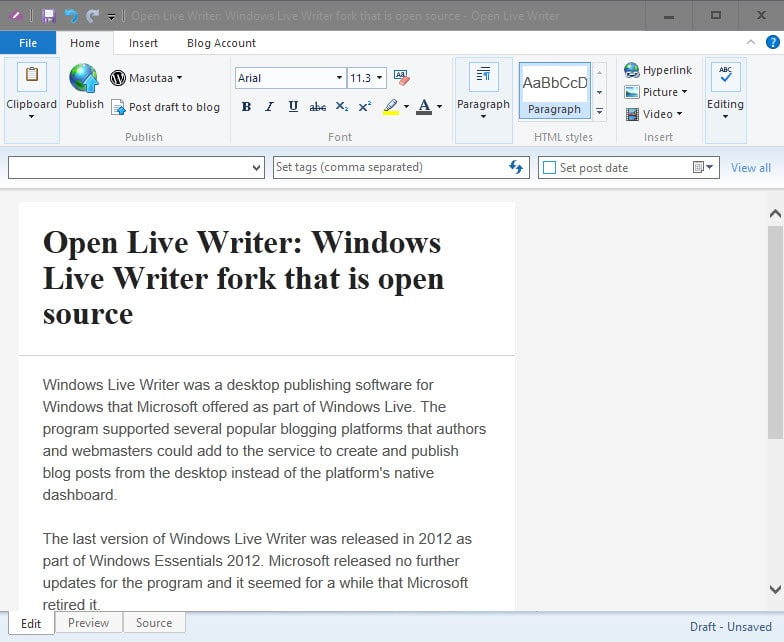 Open Live Writer: Windows Live Writer fork that is open source