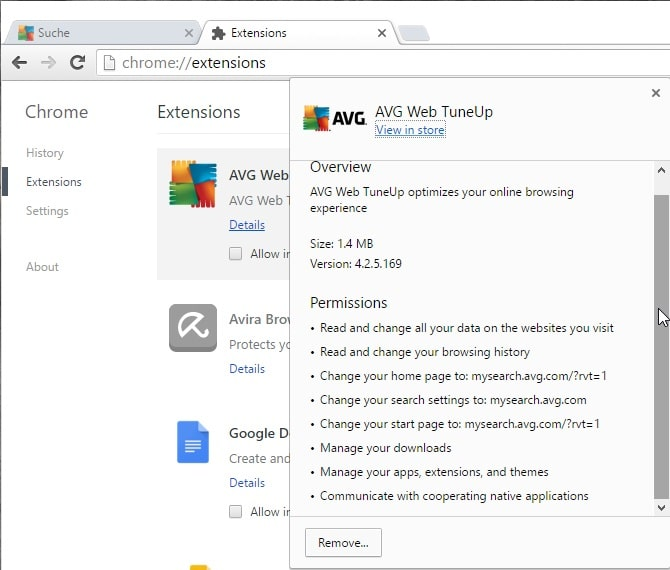 avg web tuneup permissions