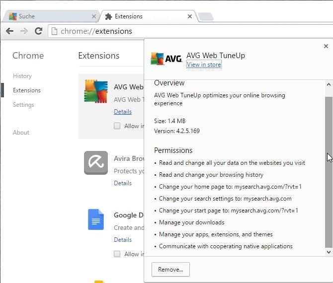 avg web tuneup permissions