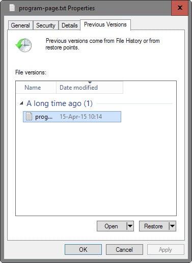 file history restore