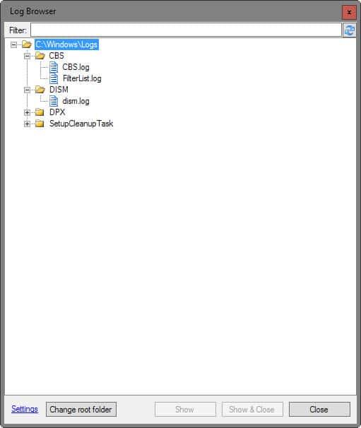 log file browser