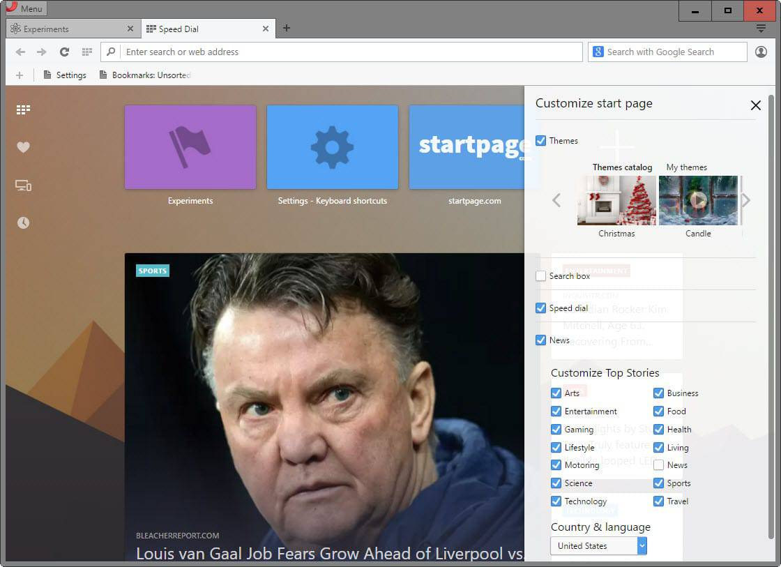 How to remove news from Opera's New Tab Page