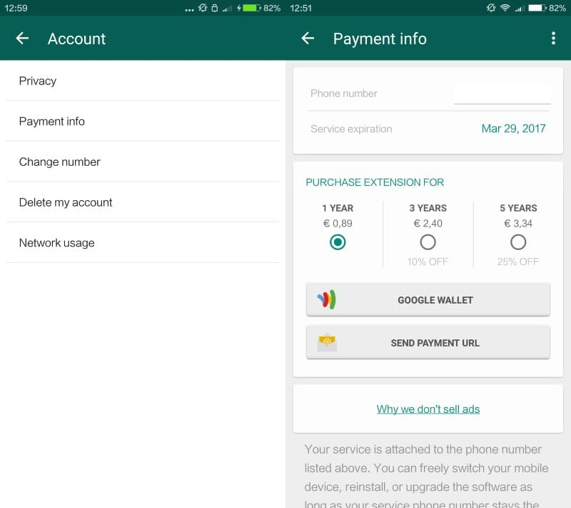 WhatsApp Free Forever: removal of subscription payments