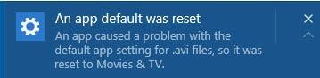 an app default was reset