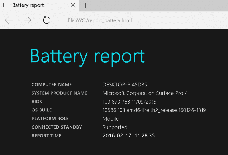 How to generate a battery report in Windows