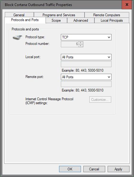 block cortana protocol ports
