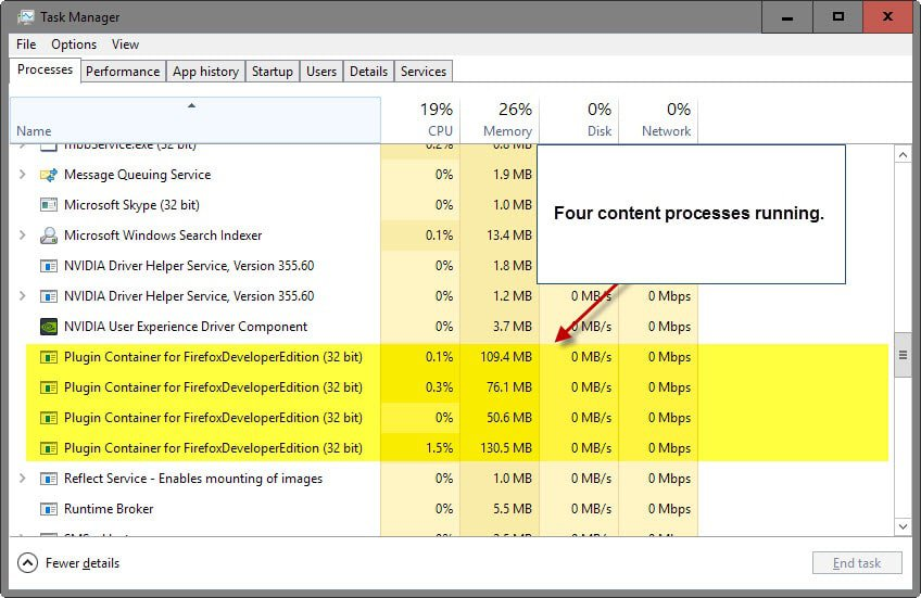 Change how many processes multi-process Firefox uses