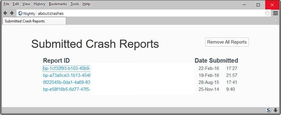 firefox crash reports