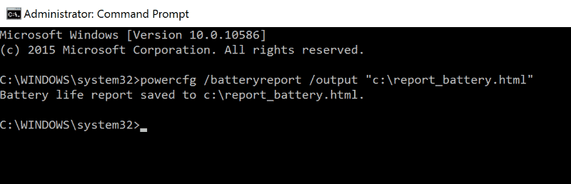 generate battery report command prompt