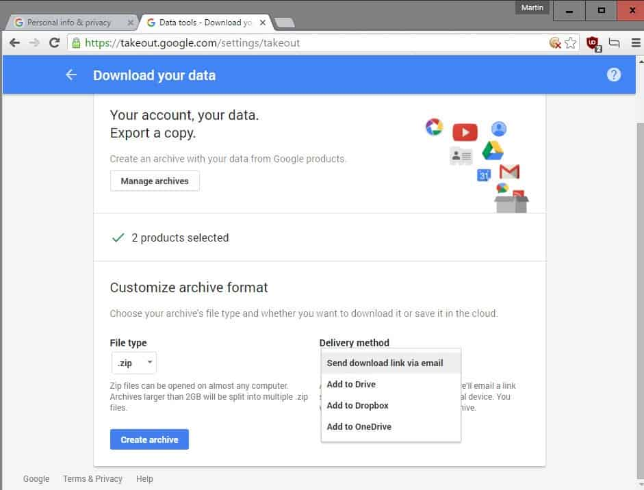 Move your Google data to OneDrive or Dropbox directly