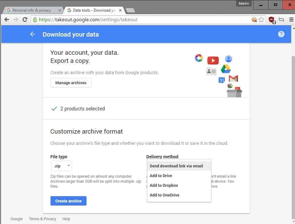 google takout dropbox onedrive